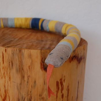 Linen snake - yellow and blue