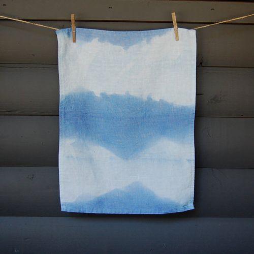 Dyed tea towel - summer sky no